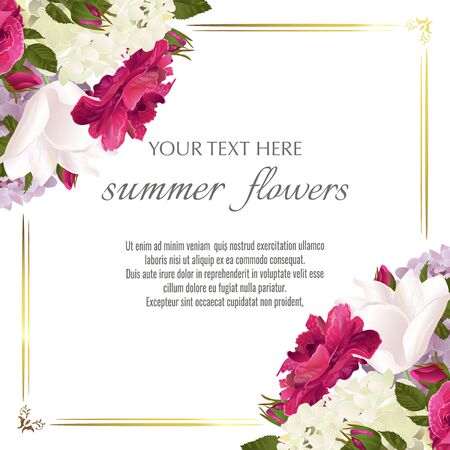 Template for greeting cards, wedding decorations, invitation,sales. Vector banner with Luxurious roses, tulip and hydrangea flowers. Spring or summer design.