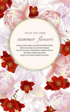 Template for greeting cards, wedding decorations, invitation,sales. Vector banner with Luxurious peony and tulips flowers. Spring or summer design.