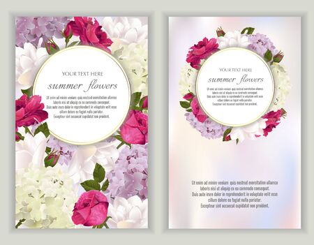 Vector banners set with roses, hydrangea and tulips flowers.Template for greeting cards, wedding decorations, invitation ,sales, packaging. Spring or summer design. Place for text. Illustration