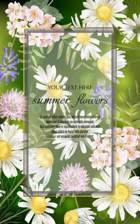 Vector banner with summer flowers for invitation, sales, packaging, natural cosmetics, perfume. Space for text. Illustration