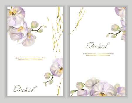 Set of Vector banners with Luxurious orchid flowers on white background. Template for greeting cards, wedding decorations, invitation, sales, packaging. Spring or summer design. Place for text.