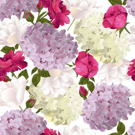 Vector botanical seamless pattern with roses, hydrangea and tulips flowers. Modern floral pattern for textile, wallpaper, print, gift wrap, greeting or wedding background.