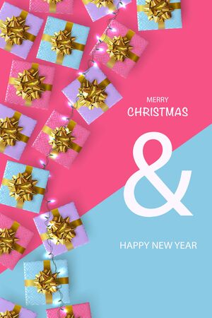 Xmas Poster, greeting cards, banner. New Year Background. Flat top view of gift boxes and Luminous garlands.