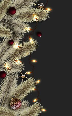 Dark Merry Christmas and Happy New Year Background. Luminous garlands, Red Christmas balls, glitter gold confetti, gold pine branch. Holiday Poster, greeting cards, banner.