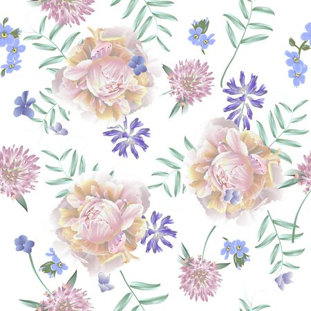 Seamless pattern with peony and wild flowers. Modern floral pattern for textile, wallpaper, print, gift wrap, greeting or wedding background. Illustration