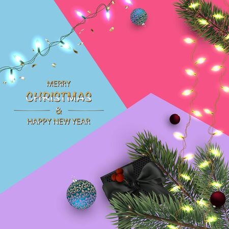 Holiday Poster, greeting cards, banner. Christmas Border. Happy New Year Background.