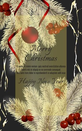 Banner with detailed gold christmas tree, red rinnon and red ball on dark background. Vector New Year design for christmas cards, banners, flyers, party posters, holiday sales, web page, packaging.