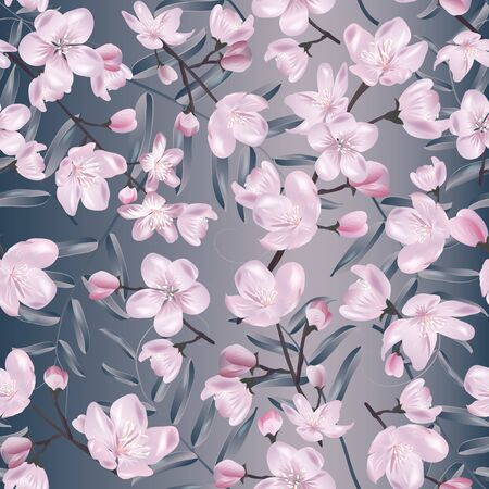 Vector botanical seamless pattern with Blossoming sakura. Modern floral pattern for textile, wallpaper, print, gift wrap, greeting or wedding background.