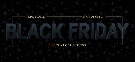 Black Friday Sale. Promotional marketing discount event. 3d lettering for banner, poster, logo on dark background.