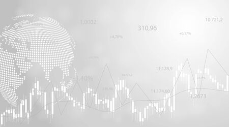 Financial data graph chart on grey background. Business background with candlesticks chart for reports and investment. Financial market trade concept. Illustration