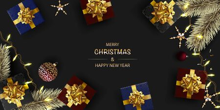 Christmas Border. Happy New Year Background. Gift boxes with realistic gold bow. Red Christmas balls, gold pine branch, Luminous garlands. Dark background