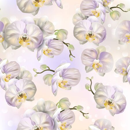 Vector botanical seamless pattern with orchid flowers. Modern floral pattern for natural health care products, textile, wallpaper, print, gift wrap, greeting or wedding background.