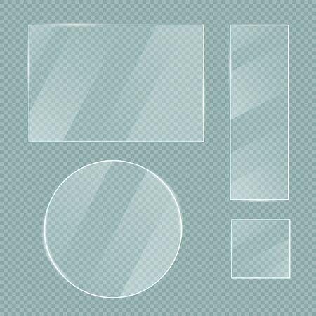 Vector glass banners set on transparent background. Illustration