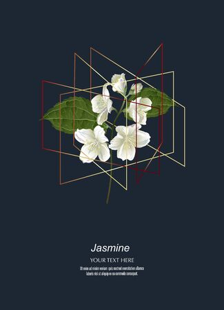Jasmine flowers in golden polygon geometric cube shape on dark background. Floral poster, invite. Vector decorative greeting card Illustration
