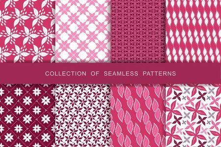 8 Seamless Patterns Set. Vector illustration. Textile printing Illustration