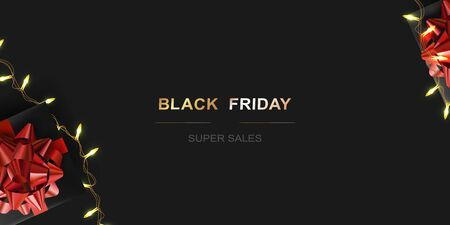 Black friday sale. Template with realistic gift boxes and Luminous garlands. Dark background Illustration