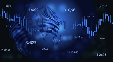 Financial data graph chart on dark background. Business background with candlesticks chart for reports and investment. Financial market trade concept.