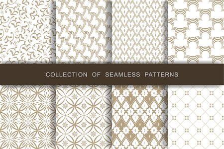 8 Seamless Patterns Set. Vector illustration. Textile printing.