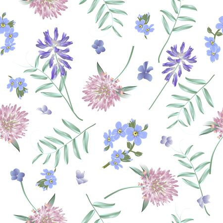 Seamless pattern with wild flowers. Modern floral pattern for textile, wallpaper, print, gift wrap, greeting or wedding background. Illustration
