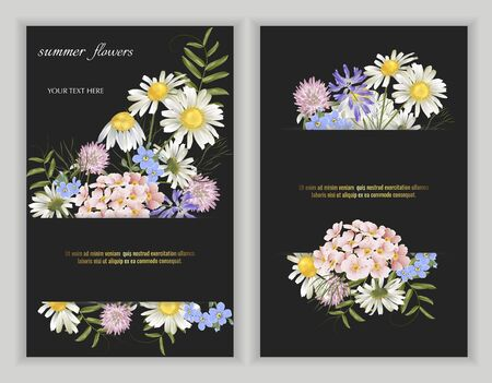 Set of Vector banners with wildflower flowers on black. Template for greeting cards, wedding decorations, invitation, sales, packaging. Spring or summer design. Floral poster, invite. Illustration