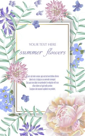 Template for greeting cards, wedding decorations, invitation,sales. Vector banner with Luxurious summer wild flowers. Spring or summer design. Space for text. Illustration