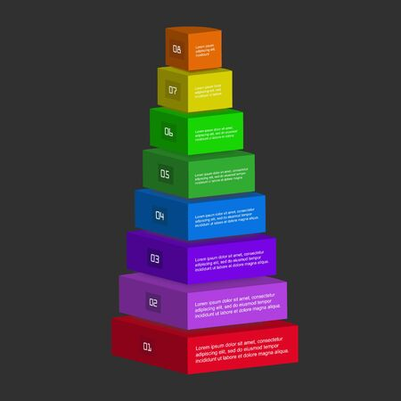Vector abstract infographic with 8 step or options. Pyramid for workflow process, business pyramid, banner, diagram, number options, work plan, web design. Illustration