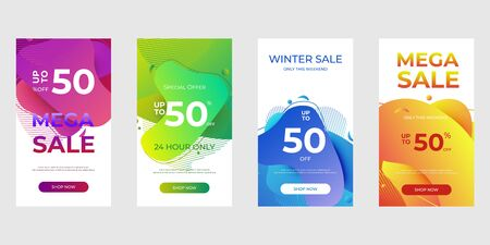 Special offer set for social media stories, web page, mobile phone. Sale banner template with Dynamic modern design fluid for flash sale banners.