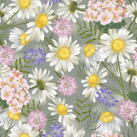 Vector botanical seamless pattern with summer flowers. Modern floral pattern for natural health care products, textile, wallpaper, print, gift wrap, greeting or wedding background. Illustration