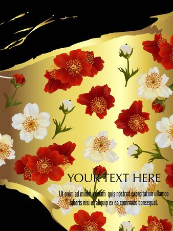 Vector banner with summer flowers on black. Template for invitation, sales, packaging, cosmetics, perfume. Space for text. Illustration