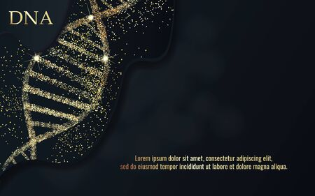 DNA sequence, DNA code structure with gold glow. Science concept background. Nano technology. Vector illustration, black background with space for text Illustration