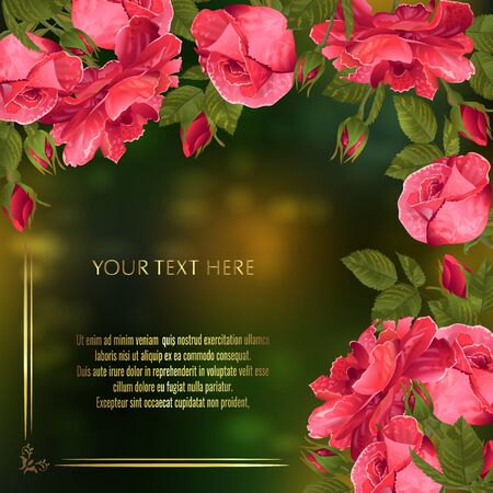 Vector banner with red roses for invitation, sales, packaging, natural cosmetics, perfume. Space for text.