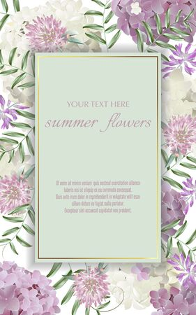 Template for greeting cards, wedding decorations, invitation,sales. Vector banner with Luxurious summer wild flowers and hydrangea. Spring or summer design. Space for text.