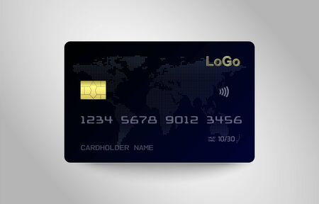 Realistic detailed template design of Debit card, Credit card. ATM card mockup with gold metal gradient chip