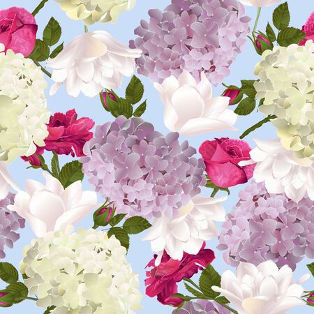 Botanical seamless pattern with roses, tulips and hydrangea flowers on blue. Modern floral pattern for textile, wallpaper, print, gift wrap, greeting or wedding background. Spring or summer design.