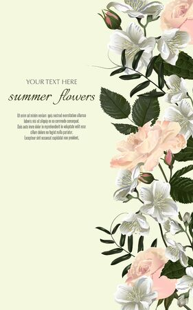 Template for greeting cards, wedding decorations, invitation, sales. Vector banner with Luxurious summer wild flowers and jasmine. Spring or summer design. Space for text.