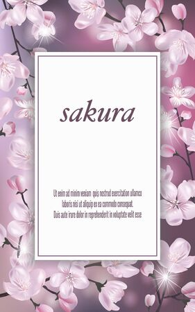 Vector banner with Cherry Blossom. Blossoming sakura branch. Template for invitation, sales, packaging, cosmetics, perfume. Space for text.