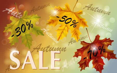 Horizontal autumn sale banner with falling leaves. Poster for fall seasonal shopping. Shop market poster design. Autumn background for season discount.