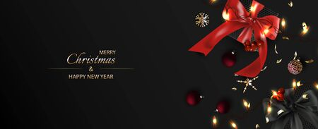 Dark Merry Christmas and Happy New Year Background. Gift boxes with realistic red bow and Luminous garlands, Red Christmas balls, glitter gold confetti. Holiday Poster, greeting cards, banner.