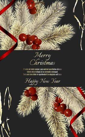 Banner with detailed christmas tree and red rinnon on dark background. Vector New Year design for christmas cards, banners, flyers, party posters, holiday sales, web page, packaging. Illustration