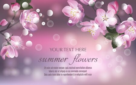 Template for invitation, sales, packaging, cosmetics, perfume. Vector banner with Cherry Blossom. Blossoming sakura branch. Space for text.