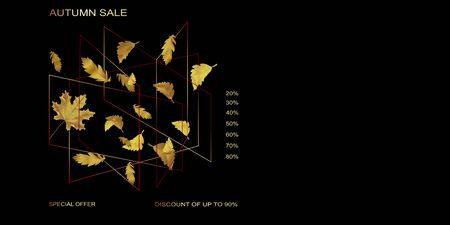 Vector advertising horizontal banner with gold and black falling leaves in golden polygon geometric cube shape on black background. Can be used for flyers, banners or posters.