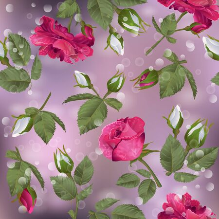 Seamless pattern with roses. Modern floral pattern for packaging, textile, wallpaper, print, gift wrap, scrapbooking, decoupage, greeting or wedding background.