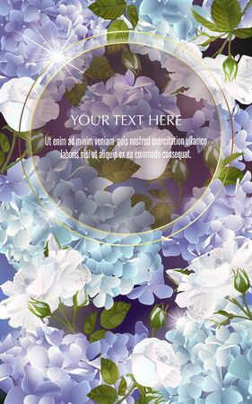 Vector banner with Luxurious hydrangea and roses flowers for invitation, sales, packaging, natural cosmetics, perfume. Space for text. Illustration