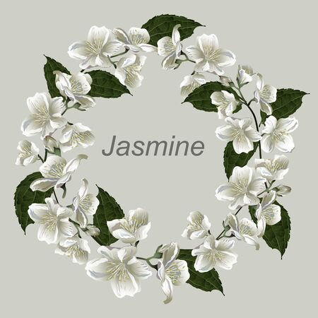 Vector vintage floral wreath with jasmine flowers. Template for greeting cards, wedding decorations, invitation, sales, packaging.