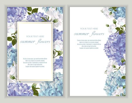 Vector banners set with roses and hydrangea flowers.Template for greeting cards, wedding decorations, invitation ,sales. Spring or summer design. Place for text. Vector Illustratie