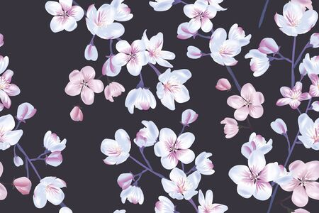 Floral seamless pattern, sakura flowers with branch and leaves on dark background Illustration