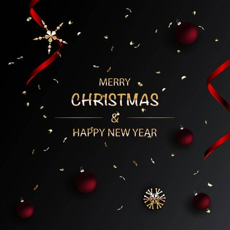 Merry Christmas and Happy New Year dark Background. Standard-Bild - 145201304