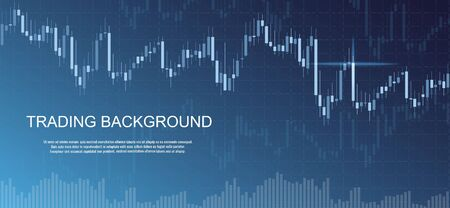 Financial data graph chart on blue background. Business background with candlesticks chart for reports and investment. Financial market trade concept.