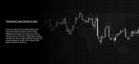 Financial data graph chart on black background. Business background with candlesticks chart for reports and investment. Financial market trade concept. Space for text Standard-Bild - 145201308