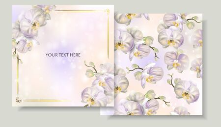 Set of Vector banners with Blossoming orchid flowers.Template for greeting cards, wedding decorations, invitation, sales, packaging. Spring or summer design. Place for text. Illustration